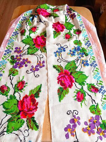 200x28 LUDOWY lambrekin zazdroska firanka haft ręczny krzyżykowy