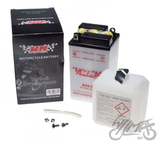 Akumulator 6V B49-6, pasuje do WSK, WFM, JUNAK, OSA, VESPA, BMW,