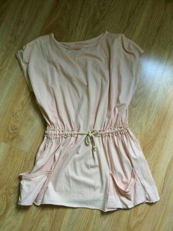 Pudrowy róż tunika -sukienka