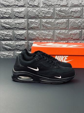 Кроссовки Nike Air Max 90 черные кожаные мужские кросівки Найк Аир Мак