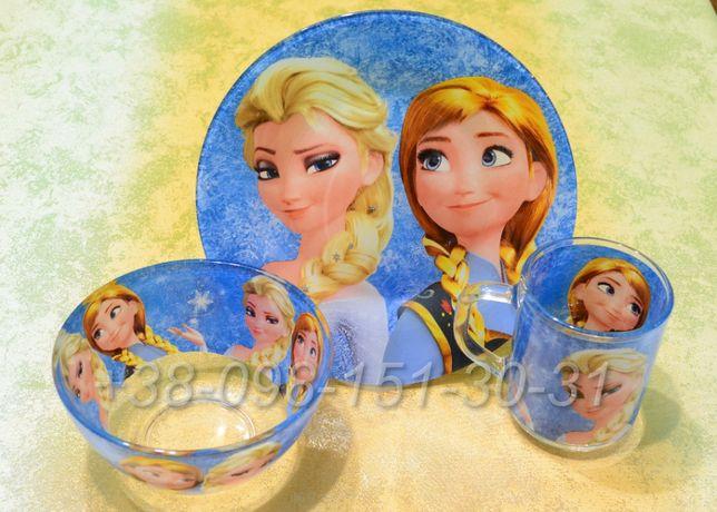 Набор детской посуды 3 в 1 в ассортименте: Эльза, принцесса София, Фея