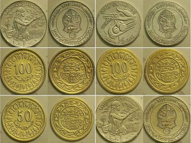 Монеты Туниса миллимы, динары, продам, цена за весь список.