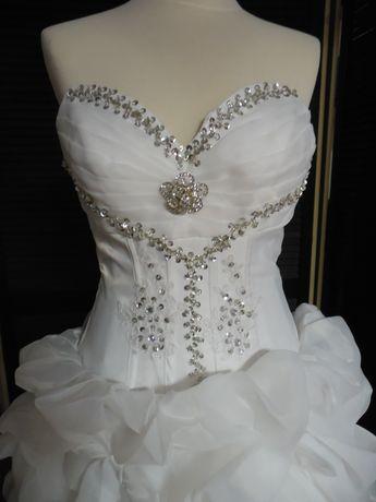 Bogato zdobiona suknia ślubna NOWA 38