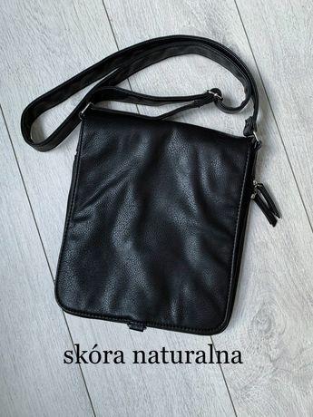 Czarna skórzana damska torba torebka na ramię nowa bez metki