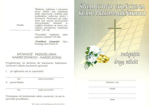 Kurs przedmałżeński + nauki