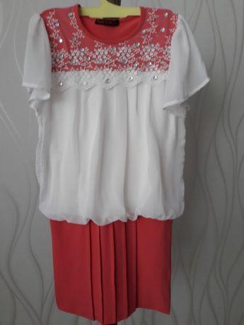 Для девочки школьницы, кораллового цвета шифоновое платье. lave rids
