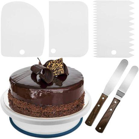 Base rotativa para bolos de 28 cm com 5 espátulas com plataforma gira.