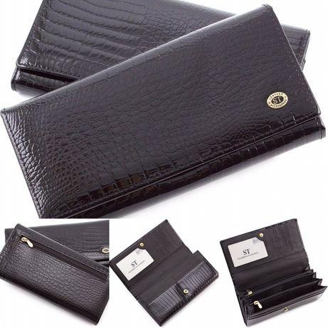 Женские кожаный лаковый кошелек с узором под крокодила ST Leather .