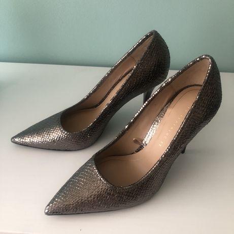 Nowe Szpilki Zara 39, czolenka srebrne Zara