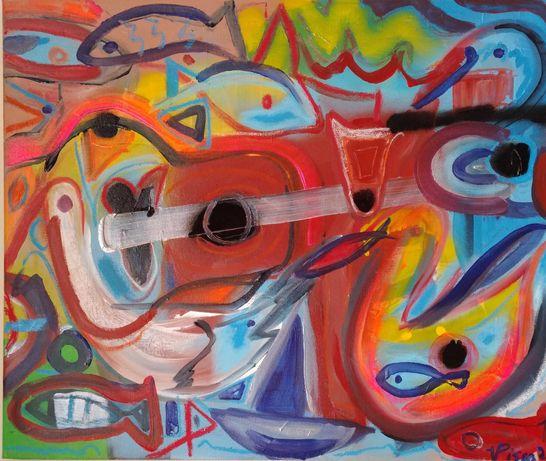 Música num parque à beira mar, técnica mista sobre tela, 50x60 cm.