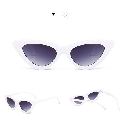Kocie okulary retro białe hit