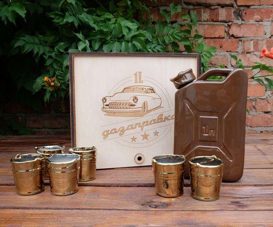 Подарочный набор Дозаправка бар, коричневая канистра и 6 рюмок