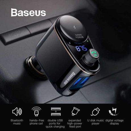 НОВЫЕ! Baseus CCALL-RX01 FM модулятор трансмиттер Зарядное блютуз MP3