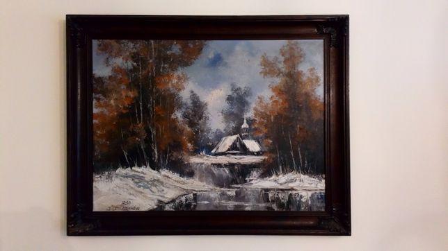 Wielki obraz olejny pejzaż zima Cetnarowskiego