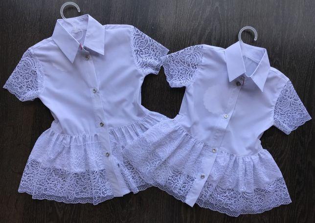 Блуза для девочки с кружевом. р-р 140