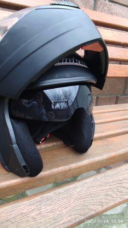 Мотошлем Jeikai модуляр с очками матовий