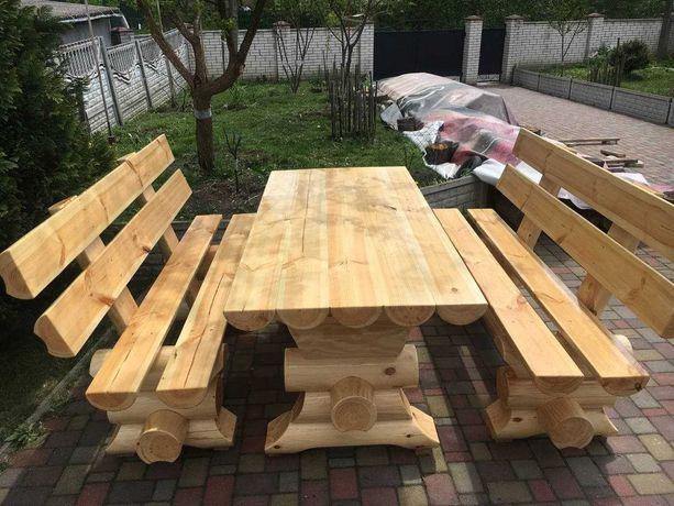 Стол и Лавки Комплект мебель из дерева для дома и сада
