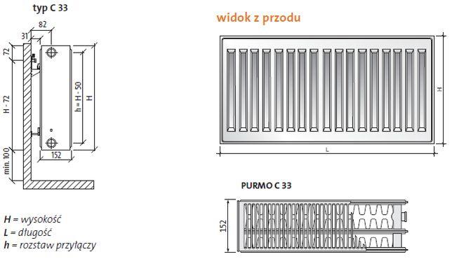 Grzejnik boczny - PURMO Compact C33 450x800