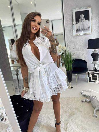 Sukienka haft biała i czarna Lola Bianka