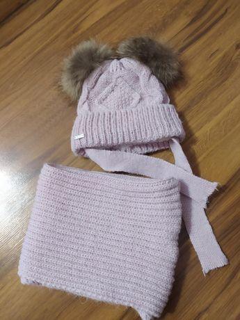 Зимний комплект шапка+шарф (снуд) на 2-3 г.