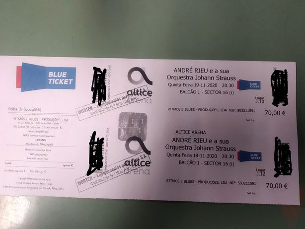 Bilhetes André Rieu - 02/12/2021