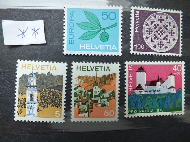 Zestaw 5szt. znaczki 1965/76r., Szwajcaria stan** czyste,klej Helvetia
