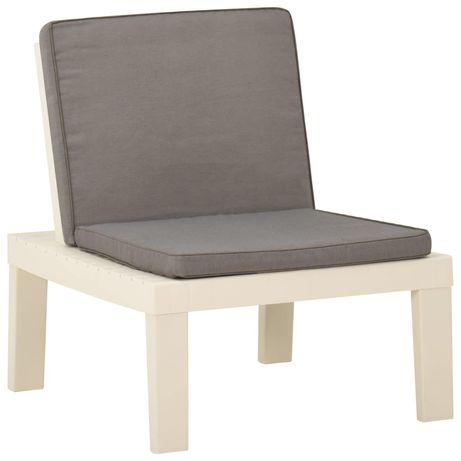 vidaXL Cadeira lounge de jardim com almofadão plástico branco 315846