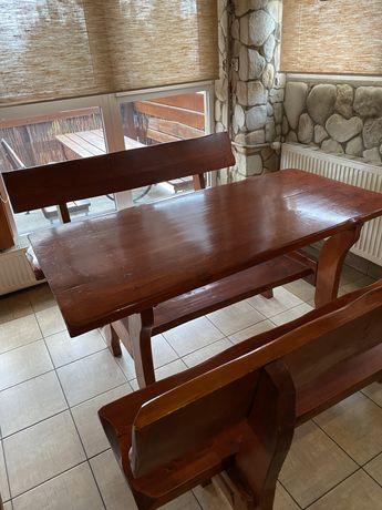 Komplet odrodowy, stół plus dwie ławy lub krzesła