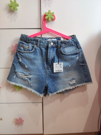 Zara nowe spodenki dżinsowe szorty z dziurami 140