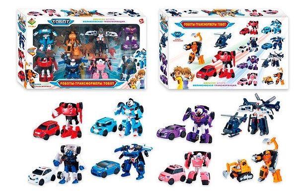 Набор трансформеров Робот Тобот 8 героев машинки