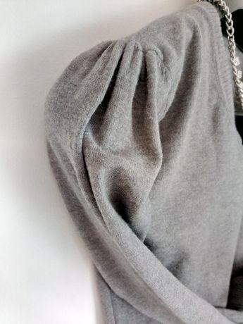 Świetny szary sweterek rozm 36 marszczone rekawy serek