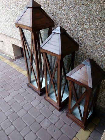 Lampion lampiony drewno szkło