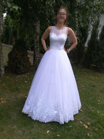 Sukienka suknia ślubna księżniczka, litera A, koronka, tiul + halka