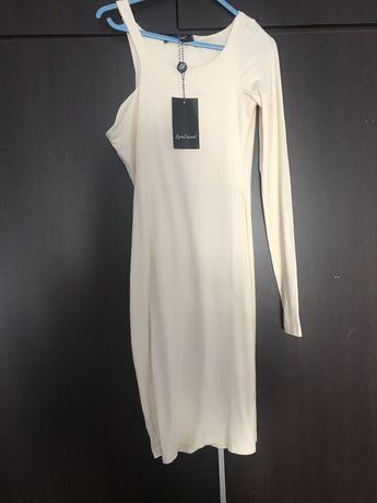 Beżowa sukienka Biała suknia Love Saint XS wycięta bandażowa nowa
