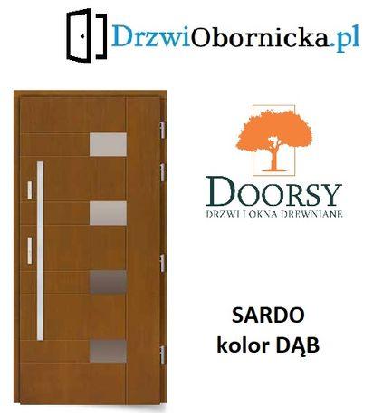 Drzwi DOORSY SARDO drewniane zewnętrzne wejściowe 100mm grubości