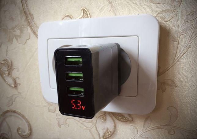 Адаптер (зарядка) Quick Charge 3.0 на 3 USB-порти з індикацією напруги