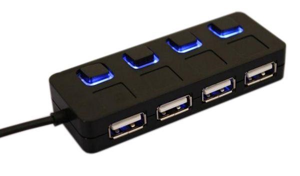 Хаб USB 2.0 HUB 4 порта, Black, 480Mbts питание от USB, с кнопкой LED