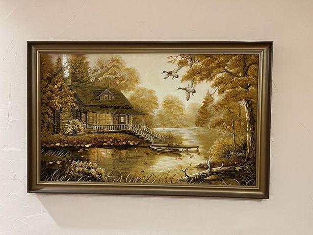 картина із янтарного каміння Будинок в лісі