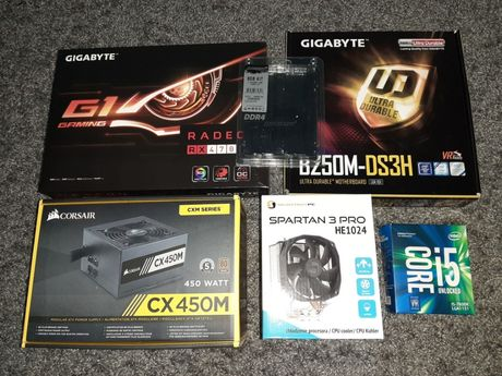 I5-7600K, RX 470, 8GB RAM, 450W ZASILACZ, COOLER, B250M-DS3H