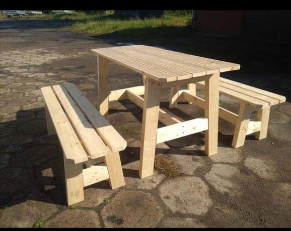 Stół ogrodowy drewniany z ławkami komplet