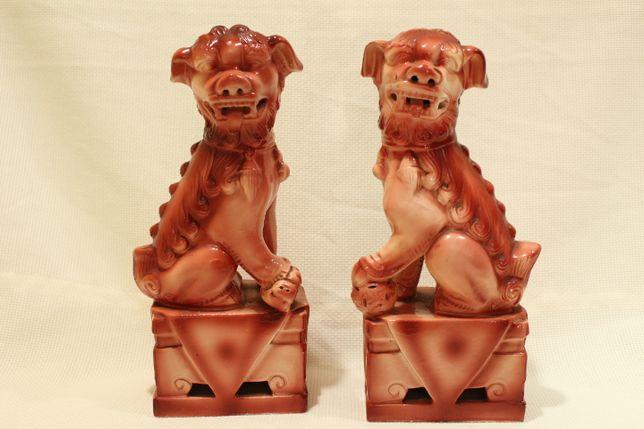 Par de Cães Foo 22 cm Monocromos Cerâmica Chinesa XX