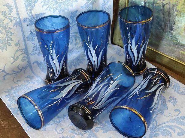 6 copos vidro antigo