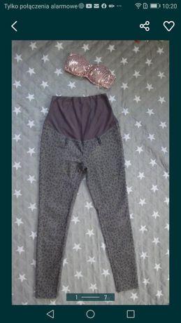 H&M MAMA Spodnie ciążowe szare pantera rurki slim rozm 38