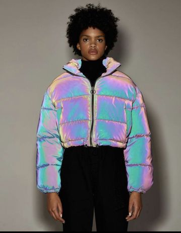 куртка bershka пуховик светоотражающая