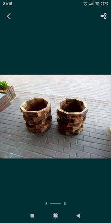 Кашпо из натурального дерева
