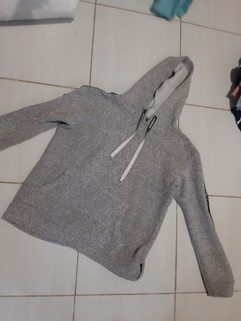 Szara bluza z kapturem bdm collection s 36 lampas fashion