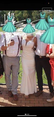 Suknia ślubna poprawionowa panna młoda syrenka rybka wycięte plecy