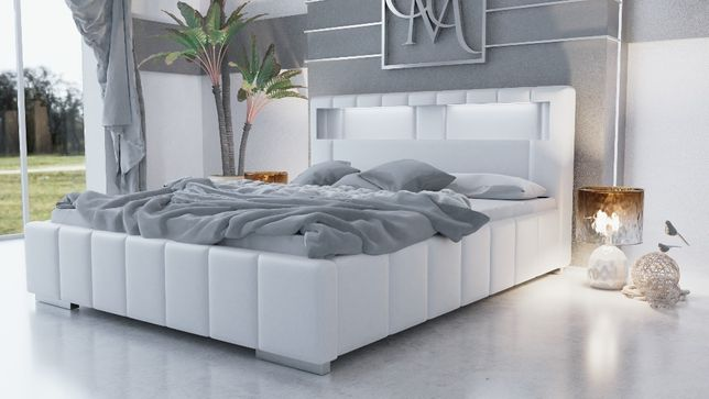 Łóżko tapicerowane PAFOS z LEDAMI . z materacem pojemnikiem i stelażem