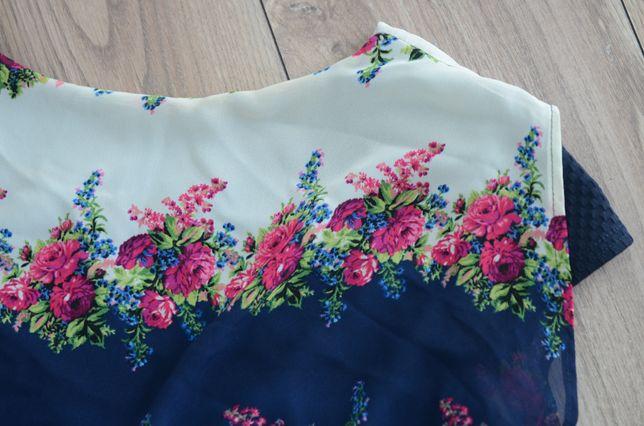 Sukienka na wesele granatowa róże szyfonowa
