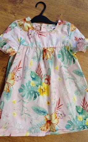 Sukienka Zara 98 lato kwiaty dziewczynka falbanka